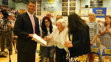 Hanna Lovett, 107, of Mattituck was presented with
