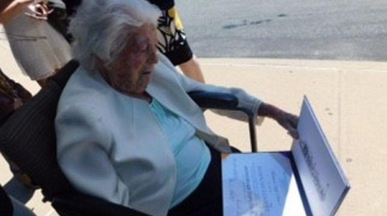 Hanna Lovett, 107, of Mattituck was awarded an