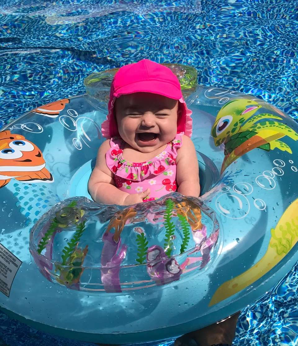Angelina Vitagliano, 3 months old, taking a dip