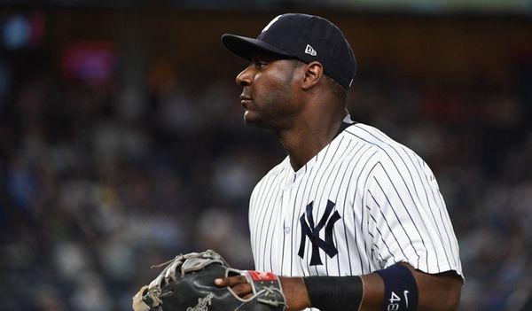 Yankees first baseman Chris Carter looks on against