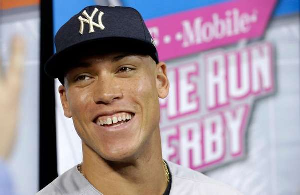 Yankees rookie Aaron Judge talks during media availability before the