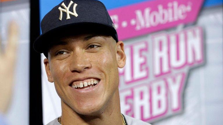 Yankees rookieAaron Judge talks duringmedia availability before the