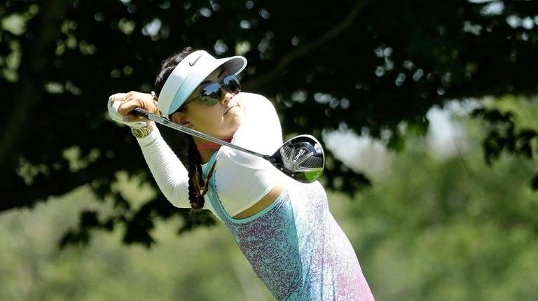 Michelle Wie hits her tee shot on the