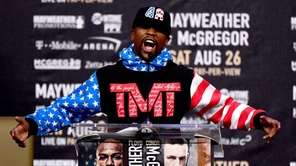Floyd Mayweather Jr. speaks during the Floyd Mayweather