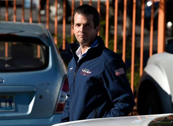 Donald Trump Jr. arrives at a rally for