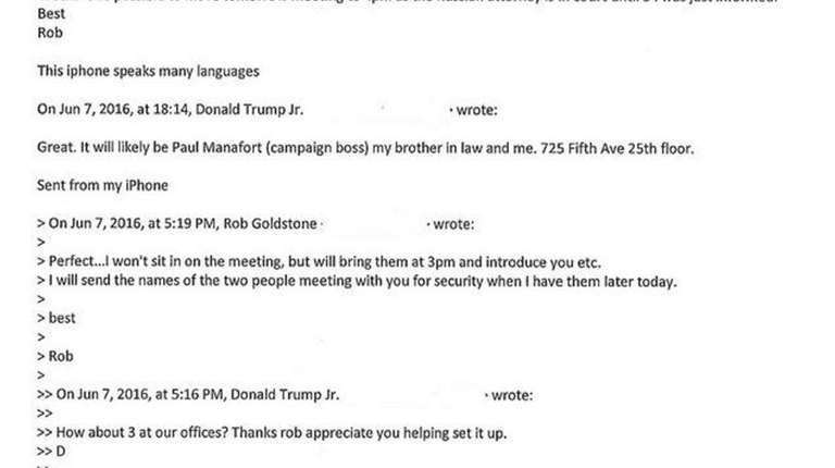 Donald Trump Jr.'s email chain he posted in