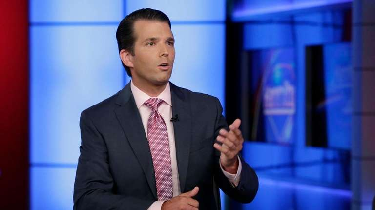 Donald Trump Jr. speaks during an interview by
