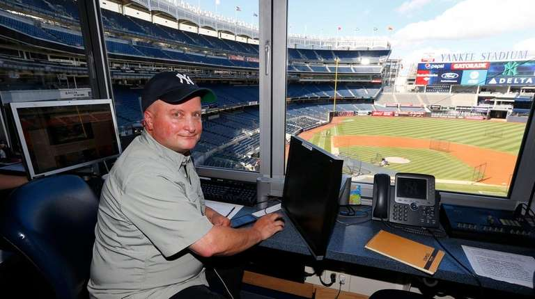 Yankee Stadium scoreboard operator Mike Messina before a