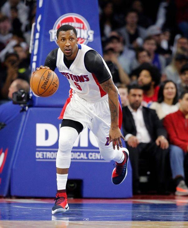 Detroit Pistons guard Kentavious Caldwell-Pope brings the ball