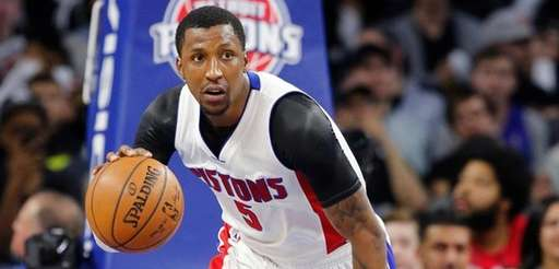Detroit Pistons guard Kentavious Caldwell-Pope brings the ball