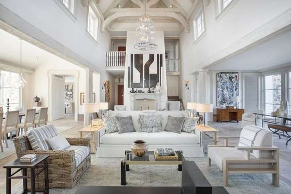 The highly styled 11,590 square-foot Bridgehampton estate is