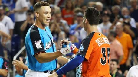 Aaron Judge and Cody Bellinger during the T-Mobile