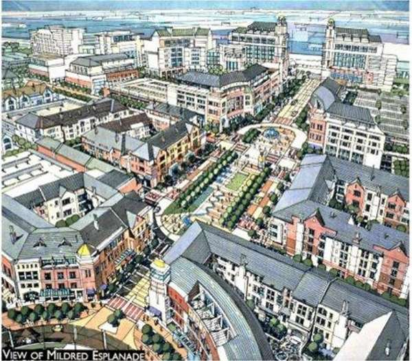 Artist's rendering of Heartland Town Square, proposed for