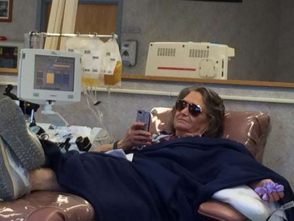 Chris Marchese of Bay Shore donates platelets recently