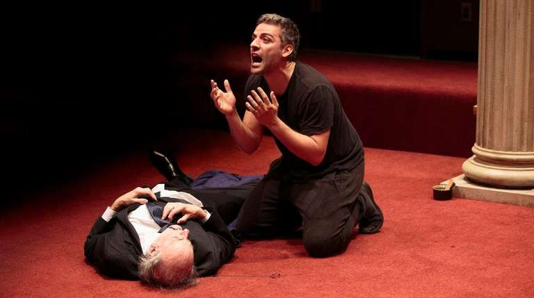 Peter Friedman and Oscar Isaac, right, in rehearsal