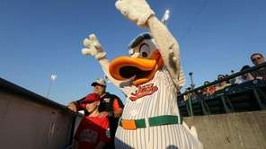 Long Island Ducks mascot Quacker Jack cheers on