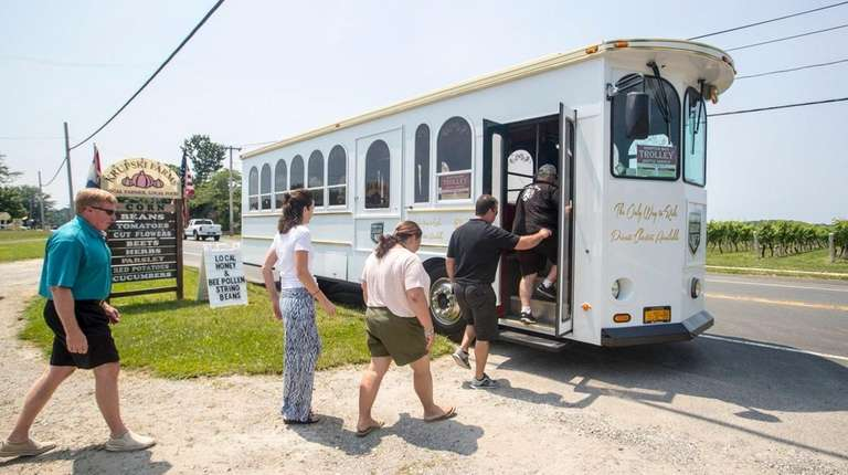 A proposed North Fork trolley makes a stop