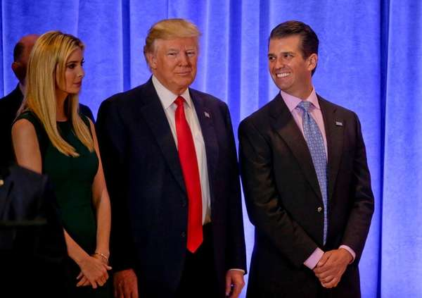 From left, Ivanka Trump, then-President-elect Donald Trump and