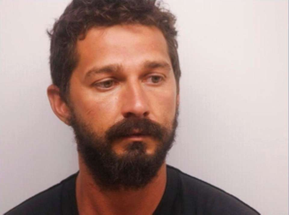 Shia LaBeouf in his booking photo at the