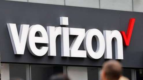 Verizon corporate signage is captured on a store
