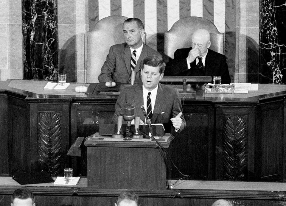 President Kennedy issues a challenge before a joint session of Congress on May 25, 1961.