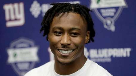 New York Giants wide receiver Brandon Marshall speaks