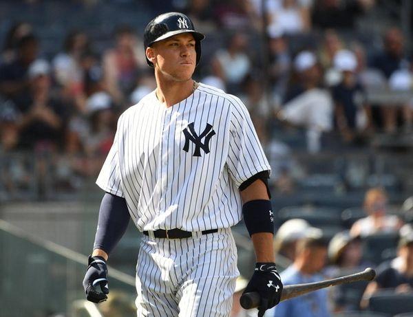 Yankees rightfielder Aaron Judge comes up to bat