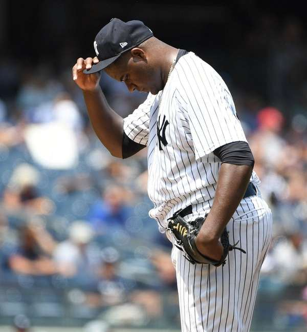 Yankees starting pitcher Michael Pineda reacts on the