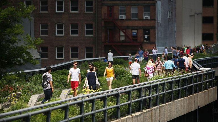 The High Line runs along an old railway