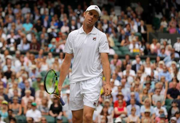 Sam Querrey of the United States reacts as