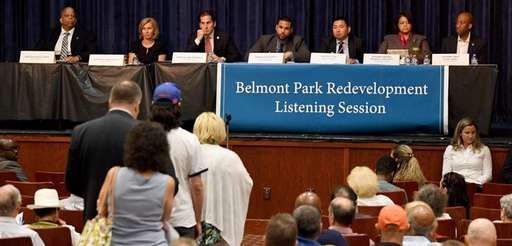 Speakers line up at a listening session by