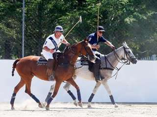 Polo players Rob Ceparano, left, of Medford and