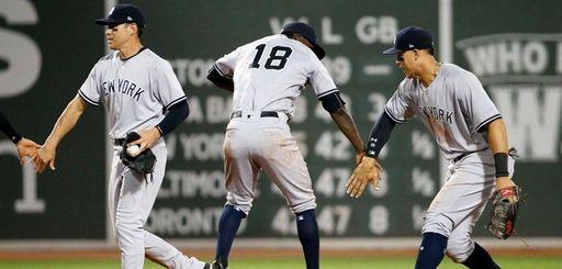 The Yankees' Jacoby Ellsbury, Didi Gregoriusand Aaron Judge,