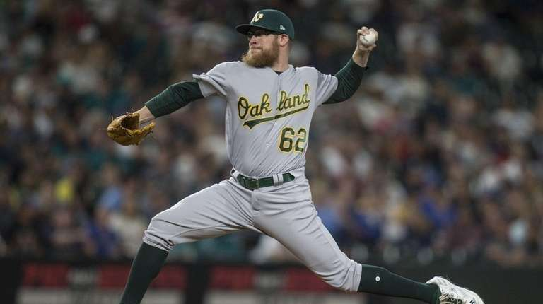 Reliever Sean Doolittle of the Oakland Athletics delivers