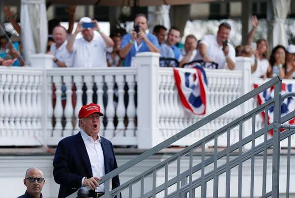 President Donald Trump arrives at the U.S. Women's