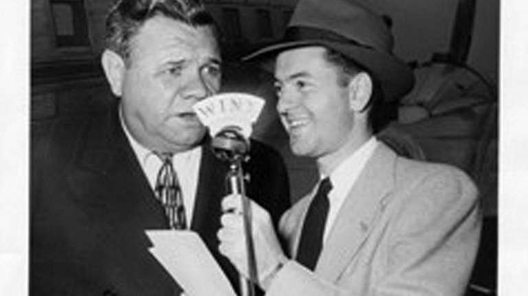 Undated photograph of Bob Wolff interviewing Babe Ruth.