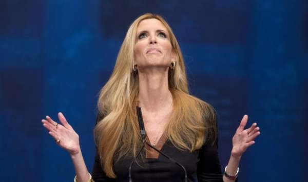 Ann Coulter gestures while speaking at the Conservative