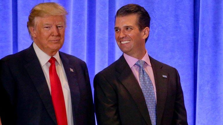 President-elect Donald Trump with daughter Ivanka Trump, left,