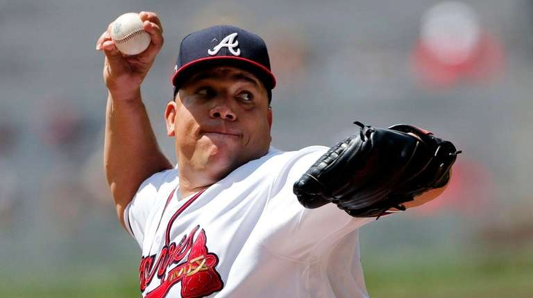 Bartolo Colon works in the first inning against