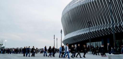 Concertgoers file into Nassau Coliseum in Uniondale on