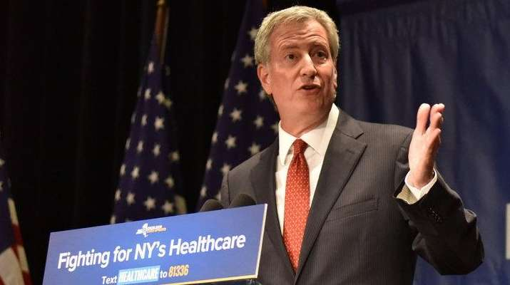 NYC Mayor Bill de Blasio at a Manhattan
