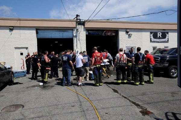 First responders work to free a man who
