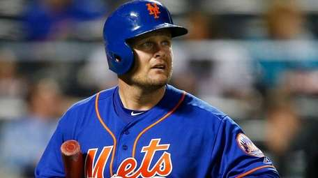 Lucas Duda of the Mets walks back to the