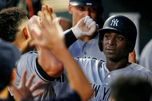 Yankees shortstop Didi Gregorius celebrates his two-run home