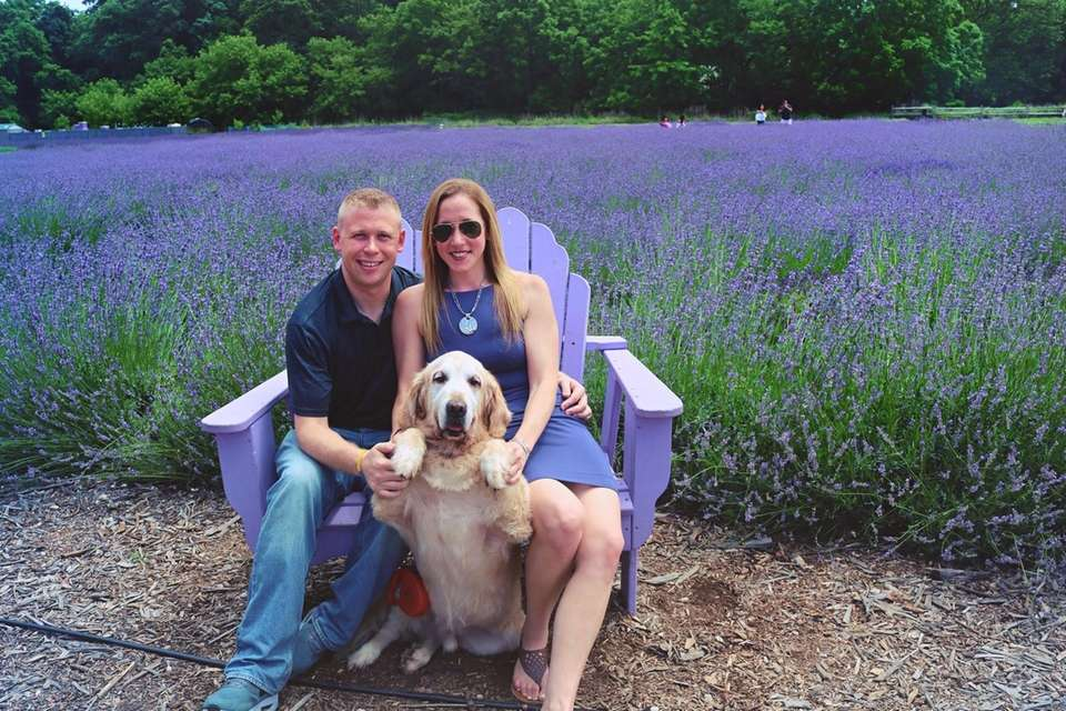 Enjoying the lavender fields with the family