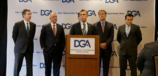 Delaware Democratic Gov. John Carney addresses a Democratic