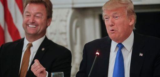 President Donald Trump, with Sen. Dean Heller (R-Nev.),