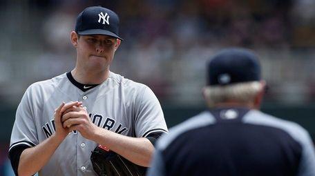 Jordan Montgomery of the Yankees gets a visit