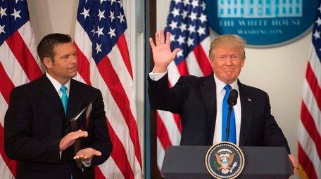 President Donald Trump with Kansas Secretary of State