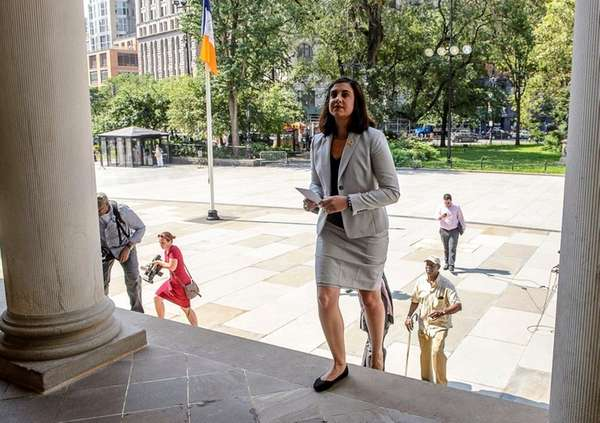 Nicole Malliotakis holds a press conference at the